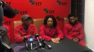 Economic Freedom Fighters leader Julius Malema with EFF MPs Hlengiwe Hlophe and Mbuyiseni Ndlozi at a press briefing in Cape Town. Picture: African News Agency (ANA)