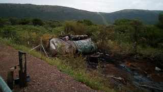Two people were killed when a tanker truck veered out of control and rolled on the N11 Groblersdal road. Picture: ER24