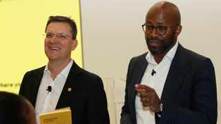 MTN Group CEO Rob Shuter and CFO Ralph Mupita at the company financial results at their offices in Fairlands West of Johannesburg. Photo Simphiwe Mbokazi.African News Agency/ANA 3