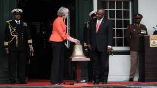 UK Prime Minister Theresa May and South African President Cyril Ramaphosa during the hand over of the bell of the ill-fated SS Mendi that sank during the World War 1 in the English Channel in 1917 killing 646 people, mostly black South African troops. Picture: Ian Landsberg/African News Agency (ANA)