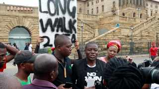 Bonginkosi Khanyile, who walked with a group of EFF students from KZN to the Union Buildings in support of incarcerated Fees Must Fall activists, speaks to the media outside the Union Buildings. Picture: Jacques Naude/African News Agency/ANA