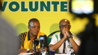 Dakota Legoete (left) acting ANC spokes person with Zizi Kodwa at a media briefing at Coastal hotel in Umhlanga. Picture: Bongani Mbatha/ African News Agency(ANA)