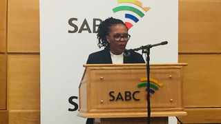 SABC acting CEO Nomsa Philiso addresses journalists on two commissions of inquiry at the public broadcaster Photo: Getrude Makhafola