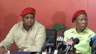 EFF president Julius Malema (right) and his deputy Floyd Shivambu briefing media at party headquarters in Johannesburg. Picture: Getrude Makhafola / ANA