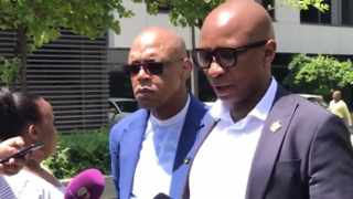 ANC spokesperson Pule Mabe and its head of presidency Zizi Kodwa brief journalists on the sidelines of the state capture commission of inquiry in Parktown. PHOTO: Getrude Makhafola/ANA