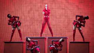 Singer Katy Perry, centre, performs on stage at the 02 Arena in London, Thursday June 14, 2018. (Photo by Vianney Le Caer/Invision/AP)