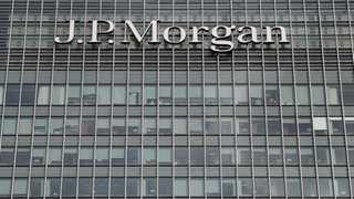 FILE PHOTO: The JP Morgan logo is seen at their offices at Canary Wharf financial district in London