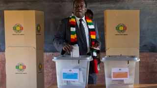 Zimbabwean President Emmerson Mnangagwa casts his vote for the presidential elections at the Sherwood Primary School in Kwekwe, Zimbabwe, Monday July 30, 2018. File image: AP Photo/Jerome Delay