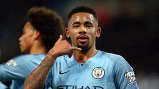 Gabriel Jesus gestures after scoring the second goal for Manchester City against Burton Albion on Wednesday night. Photo: Dave Thompson/AP