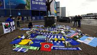 Cardiff City fans left tributes outside the stadium for Emiliano Sala. Photo: Rebecca Naden/Reuters