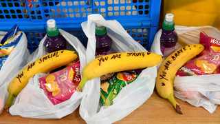 Messages written on bananas by Meghan, the Duchess of Sussex as she helped to prepare food parcels for the charity outreach One25, which helps women to break free from street sex work and addiction.  Pic: Toby Melville/Pool Photo via AP