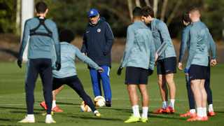 Chelsea manager Maurizio Sarri during training on Wednesday ahead of the Europa League clash against Malmo. Photo: Tony O'Brien/Action Images via Reuters