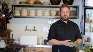 Chef Kobus van der Merwe poses for a portrait at the Wolfgat restaurant in Paternoster