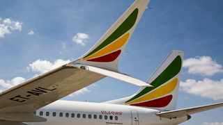 The winglet of an Ethiopian Airlines Boeing 737 Max 8 is seen as it sits grounded at Bole International Airport in Addis Ababa. File picture: Mulugeta Ayene/AP
