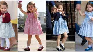 This combination photo shows Britain's Princess Charlotte in Victoria, British Columbia, on Oct. 1, 2016, from left, in Hamburg, Germany on July 21, 2017, at St Mary's Hospital in London on April 23, 2018 and at the Chapel Royal, St James's Palace in London, on July 9, 2018. The bite-size princess is a fashion influencer with some of her smock dresses selling out in just a few hours. (AP Photo)