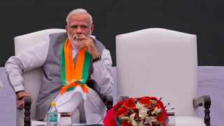 Indian Prime Minister Narendra Modi is rallying his nationalist base ahead of the world's biggest election, which starts on Thursday. Picture: AP Photo/Manish Swarup