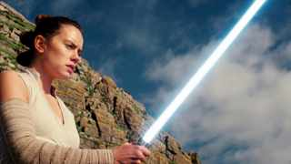 "This image released by Lucasfilm shows Daisy Ridley as Rey in ""Star Wars: The Last Jedi."" The Skywalker saga may be coming to an end this December as the latest Star Wars trilogy finishes, but 8 months out from its release fans still know precious little about what director J.J. Abrams and Lucasfilm president Kathleen Kennedy have in store for ""Episode IX,"" which opens nationwide on Dec. 20.  (Lucasfilm via AP)"