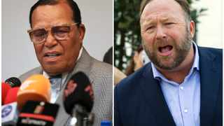 This combination of file photo shows minister Louis Farrakhan, the leader of the Nation of Islam, left, and conspiracy theorist Alex Jones, right. Picture: AP