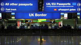UK Border control at Terminal 2 at Heathrow Airport in London. Picture: Neil Hall/Reuters/African News Agency (ANA)