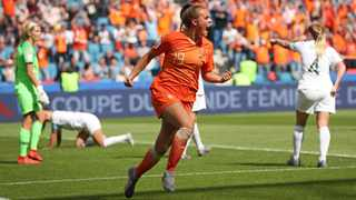 Jill Roord celebrates after scoring the only goal for The Netherlands against New Zealand. Photo: Francisco Seco/AP