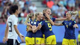 Sweden's Stina Blackstenius, second from left, celebrates with teammates after scoring her side's second goal during their Women's World Cup quarter-final soccer match against Germany at Roazhon Park in Rennes, France on Saturday. Photo: David Vincent/AP