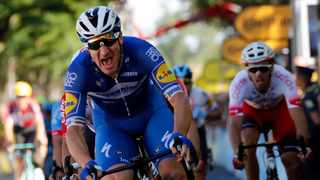 Italy's Elia Viviani celebrates as he crosses the finish line to win the fourth stage of the Tour de France cycling race over 214 kilometers (133 miles) with start in Reims and finish in Nancy. Photo: Christophe Ena/AP Photo