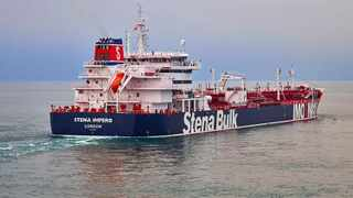 British oil tanker Stena Impero, believed to have been captured by Iran, at an unknown location. Intercepted radio communications between a British warship and Iran's Islamic Revolutionary Guard Corps revealed that the British navy tried but failed to prevent the seizure of its tanker. File photo: Stena Bulk via AP.