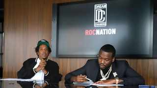 Jay-Z, left, and Meek Mill make an announcement of the launch of Dream Chasers record label in a joint venture with Roc Nation, at the Roc Nation headquarters on Tuesday, July 23, 2019, in New York. Picture: AP