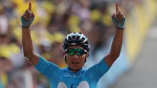 Colombia's Nairo Quintana celebrates as he crosses the finish line to win the eighteenth stage of the Tour de France cycling race over 208 kilometers (130 miles) with start in Embrun and finish in Valloire. Photo: Thibault Camus/AP Photo