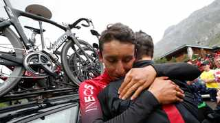 Team INEOS rider Egan Bernal of Colombia reacts after confirmation that he wins the stage and will be the new yellow jersey. Photo: Christian Hartmann/Reuters