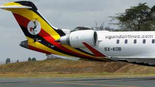 FILE PHOTO: A Uganda Airlines Bombardier CRJ-900 taxi is pictured during its relaunching flight to Jomo Kenyatta International Airport in Nairobi