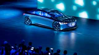 A 'Vision EQS' of the car manufacturer Mercedes is displayed at the IAA Auto Show in Frankfurt, Germany, Tuesday, Sept. 10, 2019. (AP Photo/Michael Probst)