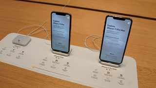 Apple iPhone 11's are pictured inside of the Apple Store on Fifth Ave in the Manhattan borough of New York