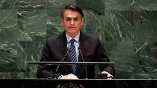 Brazil's President Jair Bolsonaro addresses the 74th session of the United Nations General Assembly. Picture: AP Photo/Richard Drew