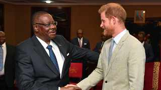 Britain's Prince Harry meets with Professor Arthur Peter Mutharika, President of the Republic of Malawi, at the State House in Malawi on day seven of the royal tour of Africa, Sunday Sept. 29, 2019. Picture: AP