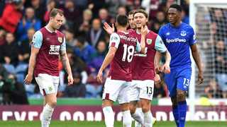 Burnley's Jeff Hendrick, centre right, celebrates scoring against Everton during their English Premier League match at Turf Moor on Saturday. Photo: Anthony Devlin/AP