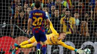 Ter Stegen made key saves in Barcelona's 2-1 win at Slavia Prague on Wednesday night in the Champions League group stage. Photo: Albert Gea/Reuters