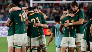 The Springboks celebrate after their narrow 19-16 win over Wales that saw them reach the Rugby World Cup final. Photo: Christophe Ena/AP Photo
