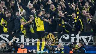 Dortmund's Achraf Hakimi celebrates after scoring his side's third goal during the Champions League group F soccer match on Tuesday. Photo: AP Photo/Martin Meissner