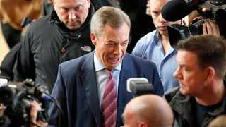 Brexit party leader Nigel Farage speaks to journalists during an event as part of the General Election campaign trail, in Hartlepool, England, Monday, Nov. 11, 2019. Britain goes to the polls on Dec. 12. Picture: AP