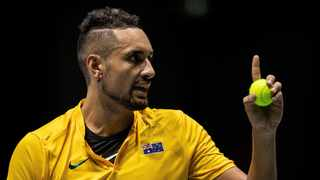 Australia's Nick Kyrgios argues during the Davis Cup tennis match against Colombia's Alejandro Gonzalez in Madrid on Tuesday. Photo: AP Photo/Bernat Armangue