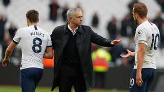 Tottenham's manager Jose Mourinho congratulates his players at the end of their Premier League game against West Ham United at London Stadium in London on Saturday. Photo: Frank Augstein/AP