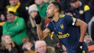 Arsenal's Pierre-Emerick Aubameyang celebrates scoring their second goal against Norwich City at Carrow Road on Sunday. Photo: Chris Radburn/Reuters