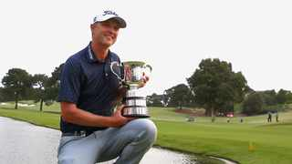 Matt Jones of Australia poses with the Stonehaven Cup after winning The Australian Open Golf Championship at The Australian Golf Club in Sydney on Sunday. Photo: Jeremy Ng/AP