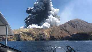 This photo shows Monday's volcanic eruption on White Island, New Zealand. Some relatives of those who were visiting the island at the time were forced to continue waiting for news of their loved ones, with authorities deciding it remained too dangerous for crews to land on the island and remove bodies. Picture: Lillani Hopkins via AP