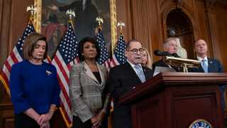 Nancy Pelosi, Maxine Waters, Jerrold Nadler, Carolyn Maloney, Richard Neal and Adam Schiff announce they are pushing ahead with two articles of impeachment against President Donald Trump. Picture: AP Photo/J. Scott Applewhite