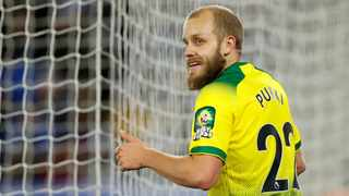Norwich City's Teemu Pukki reacts after scoring against Leicester City on Saturday. Photo: Andrew Boyers/Reuters
