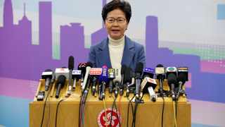 """Hong Kong Carrie Lam speaks at a news conference in Beijing. Chinese President Xi Jinping met Lam in Beijing on Monday, saying he recognised her courage to govern the Asian financial hub in these """"most difficult"""" times. File photo: Jason Lee/Reuters."""