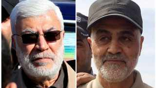 Combination of file photos showing Abu Mahdi al-Muhandis, a commander in the Popular Mobilization Forces and Iranian Revolutionary Guard Commander Qassem Soleimani. Picture: Reuters