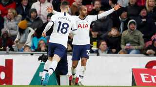 Tottenham Hotspur's Lucas Moura celebrates scoring the equaliser during their FA Cup game against Middlesbrough on Sunday. Photo: Lee Smith/Reuters